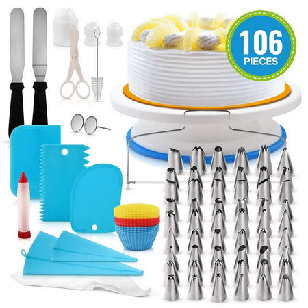 106pcs/set Cake Turntable Set Multifunction Cake Decorating Kit Pastry Tube Fondant Party Kitchen Dessert Baking Supplies#15