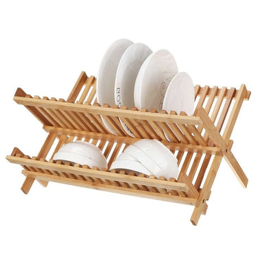 Multifunction Tableware Drain Rack Folding Dishes Storage Rack Solid Wood Double-layer Dishes Bar Kitchen Shelf Kitchen Drainer