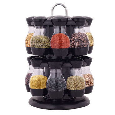16Pcs Condiment Set 360 Rotating Spice Jar Rack Kitchen Cruet Condiment Bottle Coffee Sugar Seal Jar Container Rack