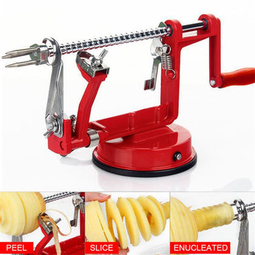 Kitchen Accessories 3 In 1 Stainless Steel Hand-cranked Fruit Peeler Clipping Apple Potato Peeler Slicer Machine Cocina