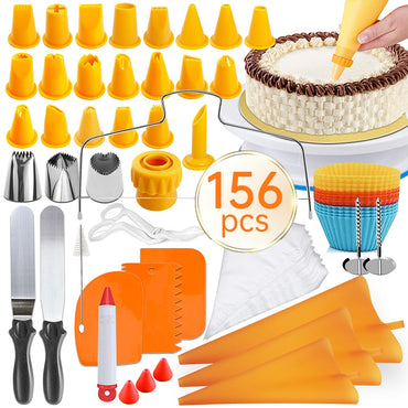 156PCS Cake Turntable Set Rotating Platform Multifunctional Cakes Decorating Tools Fondant Kit Kitchen Dessert Baking Supplies