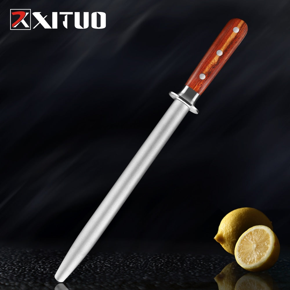 XITUO Professional Alloy Steel Round Shank Sharpening Rod Kitchen Knife Sharpener Knife Shears Scissors Sharpening Stone System