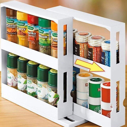 Spice Kitchen Organizer Rack Multifunction Rotating Storage Shelf Slide Kitchen Storage Rack Kitchen Cupboard Cabinet Holders