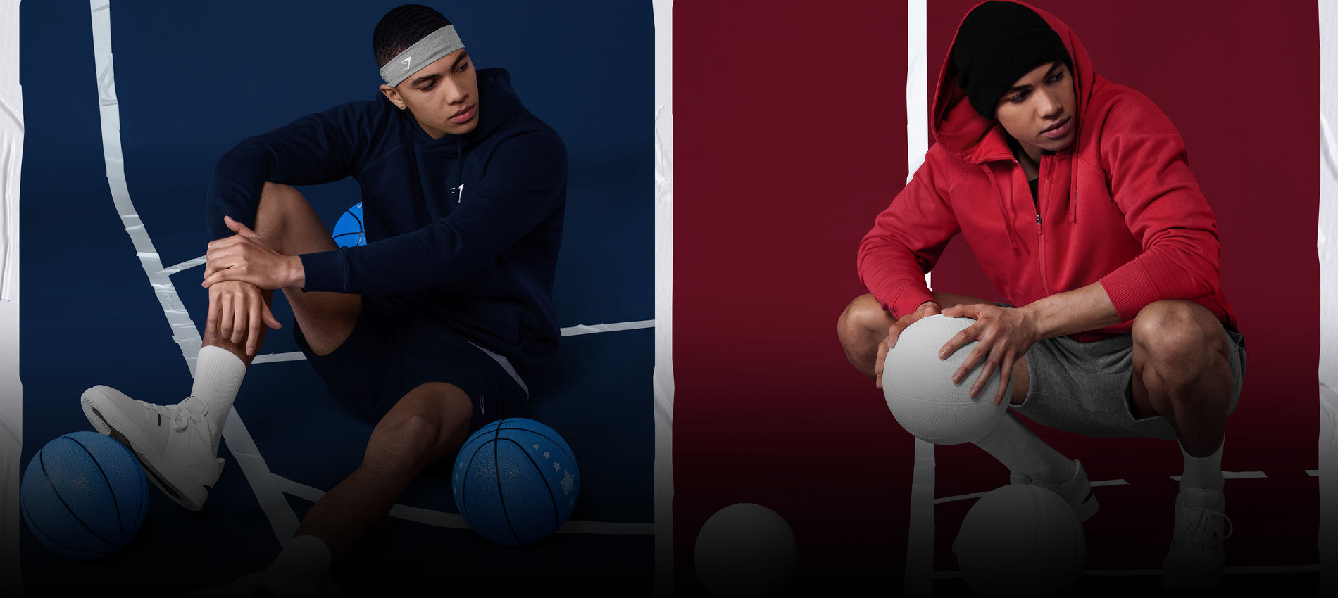 Male posing in the Crest Volcanic Red Hoodie and Black shorts against a basketball court background.