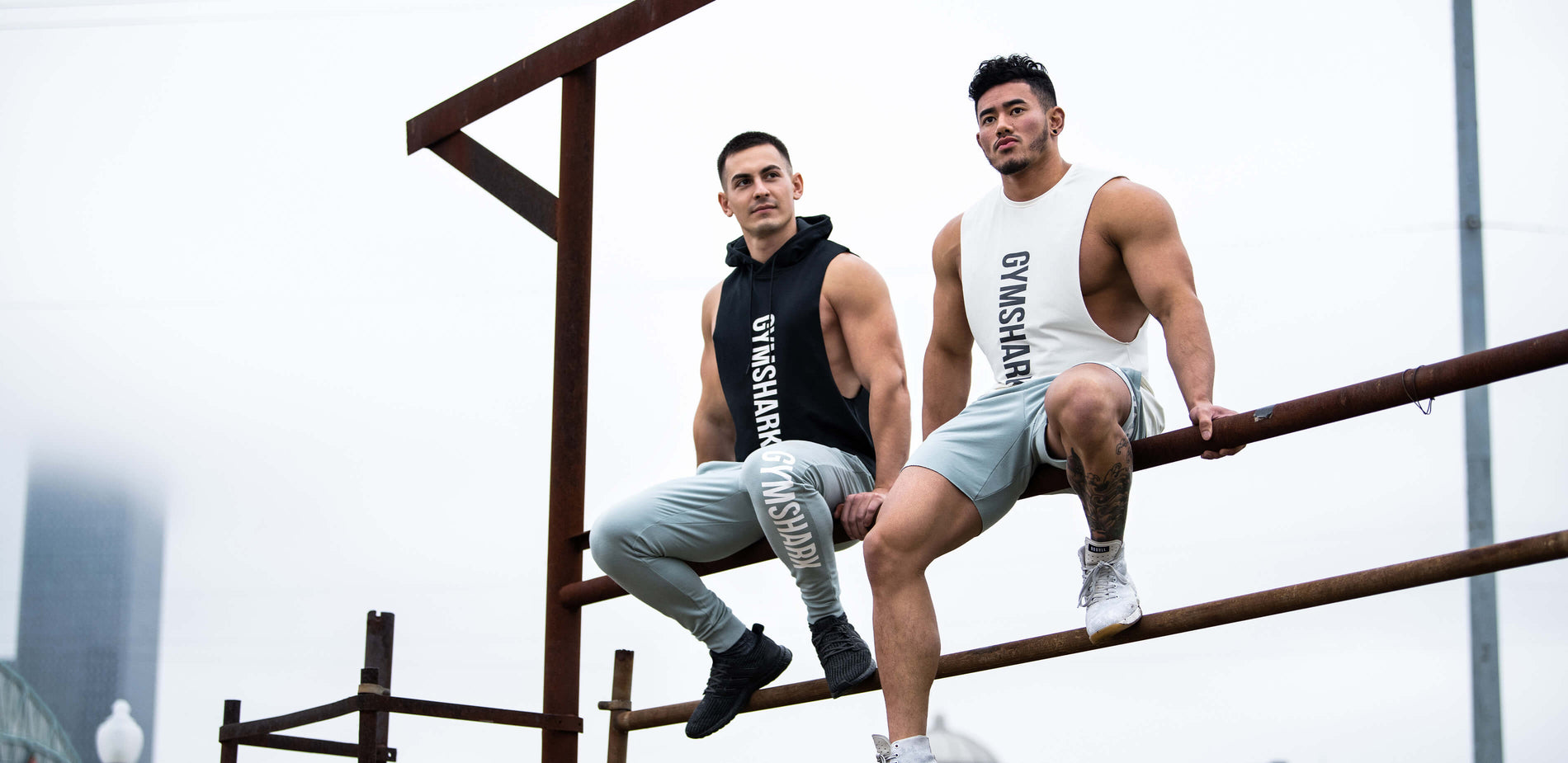Two Gymshark athletes sitting on industrial poling outside, modelling the new maximize range. The bold Gymshark text stands out in the white cold theme picture.
