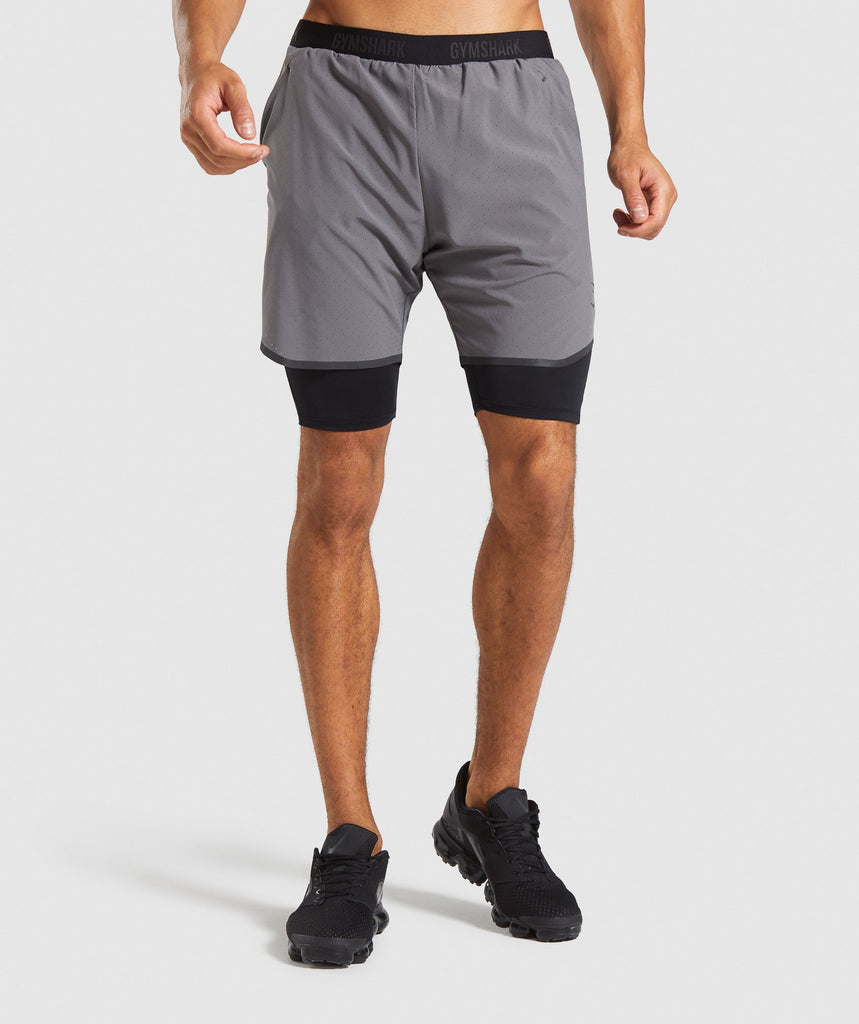 Gymshark 2 In 1 Tech Shorts - Grey 1