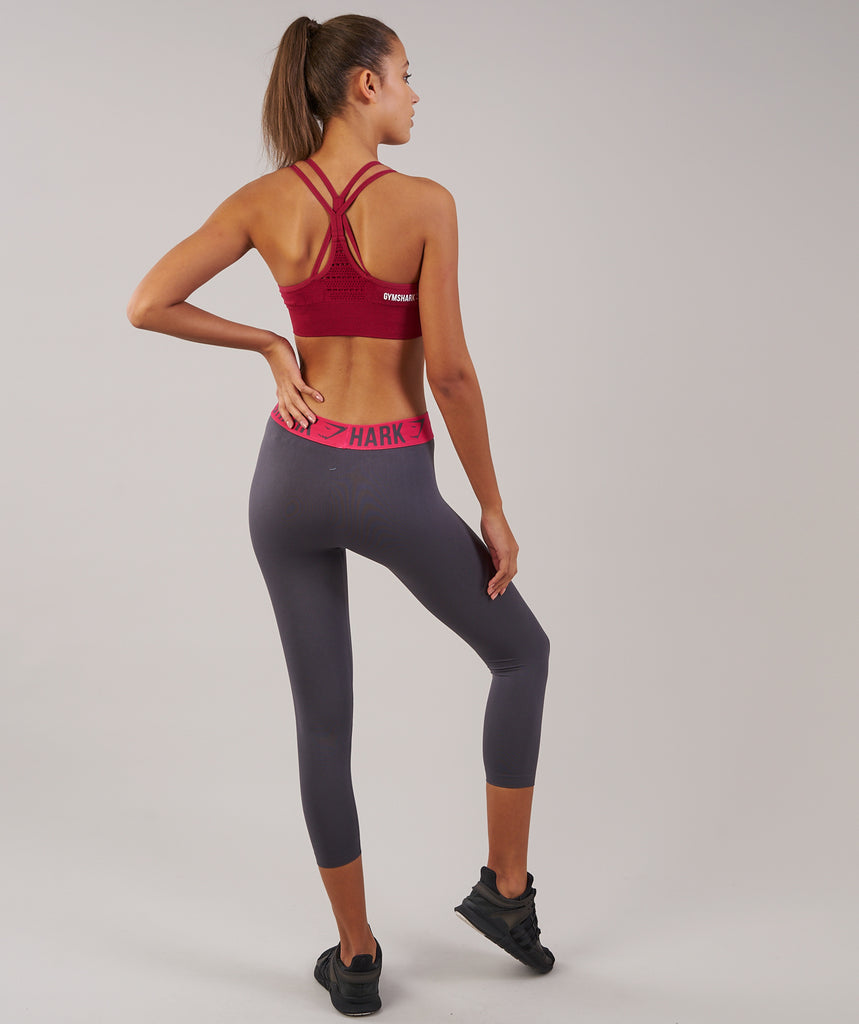 Gymshark Fit Cropped Leggings - Charcoal/Cranberry