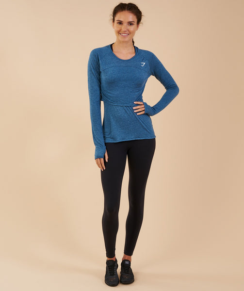 Gymshark Double Up Long Sleeve Top - Petrol Blue Marl 3