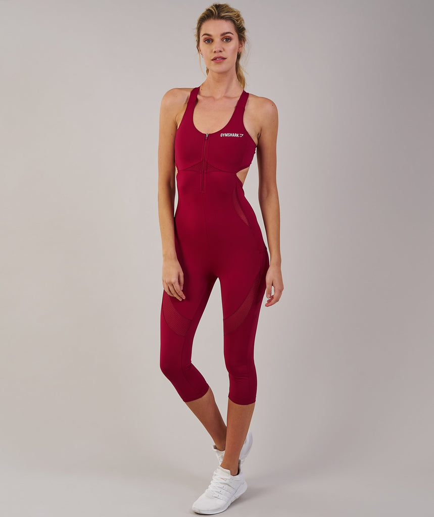 Gymshark Sports One Piece 7/8 - Beet 1