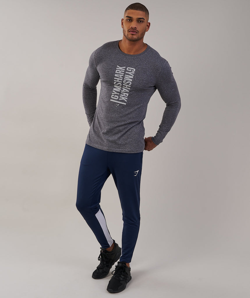 Gymshark Statement Long Sleeve T-Shirt - Charcoal Marl 6