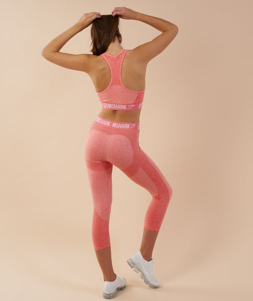 Gymshark Flex Cropped Leggings - Peach Coral 2