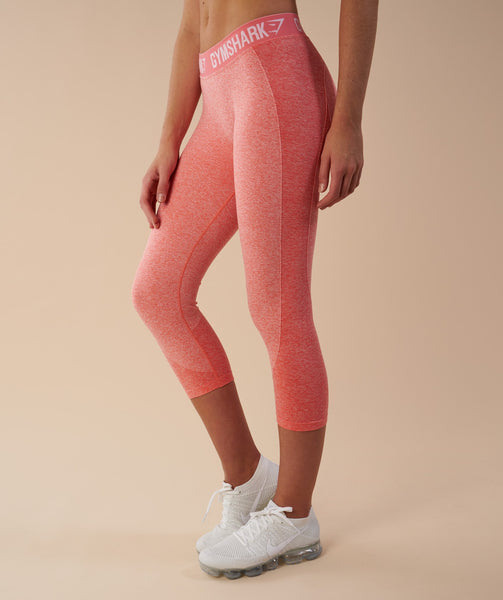 Gymshark Flex Cropped Leggings - Peach Coral 1