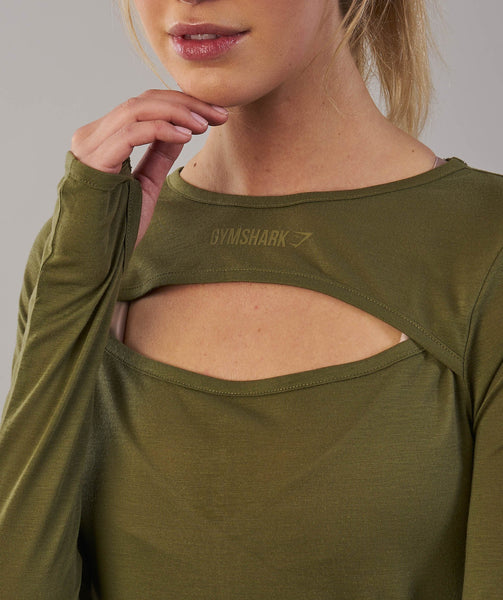 Gymshark Cut Out Long Sleeve - Khaki 1
