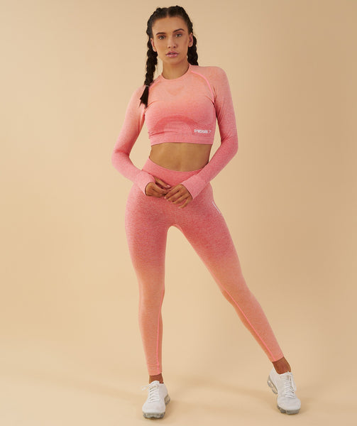 Gymshark Ombre Seamless Crop Top  - Peach Coral 4