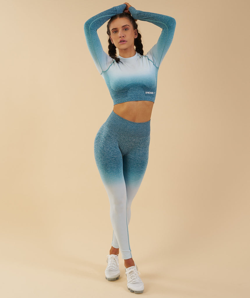 Gymshark Ombre Seamless Crop Top  - Deep Teal/Ice Blue 6