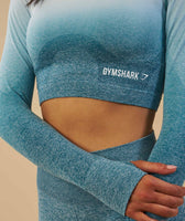 Gymshark Ombre Seamless Crop Top  - Deep Teal/Ice Blue 8