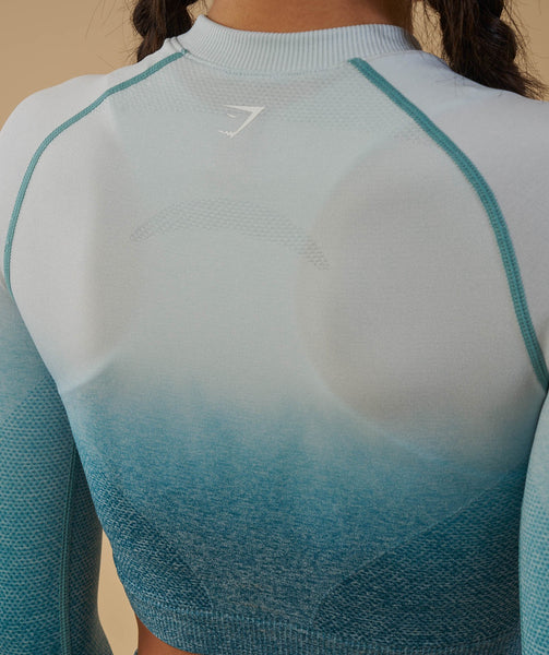Gymshark Ombre Seamless Crop Top  - Deep Teal/Ice Blue 4