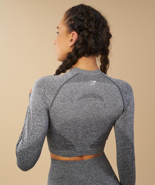 Gymshark Ombre Seamless Crop Top  - Black/Light Grey 4