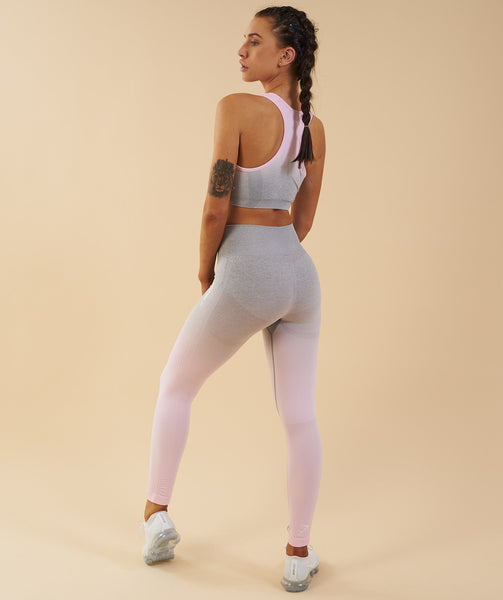 5ce9f29470 ... Gymshark Ombre Seamless Sports Bra - Light Grey Chalk Pink ...