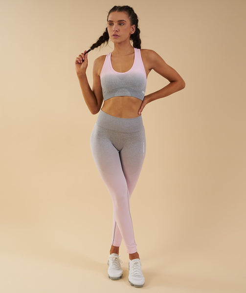 Gymshark Ombre Seamless Sports Bra - Light Grey/Chalk Pink 3