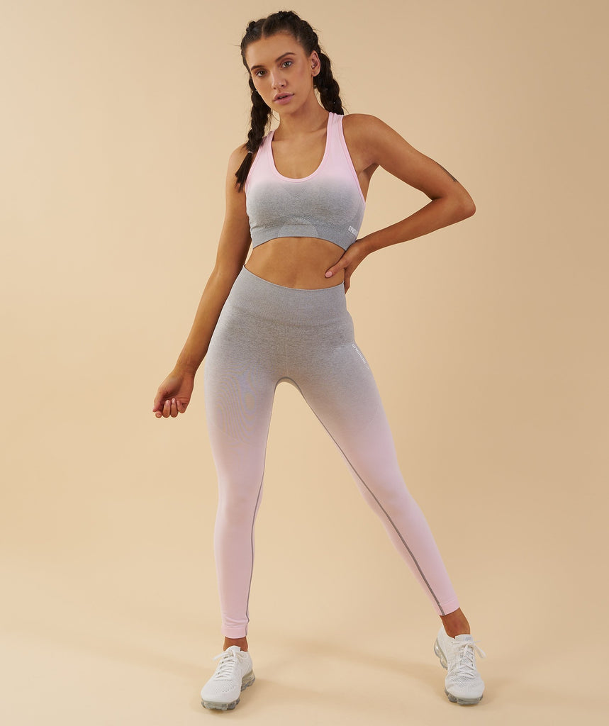 Gymshark Ombre Seamless Leggings  - Light Grey/Chalk Pink 6