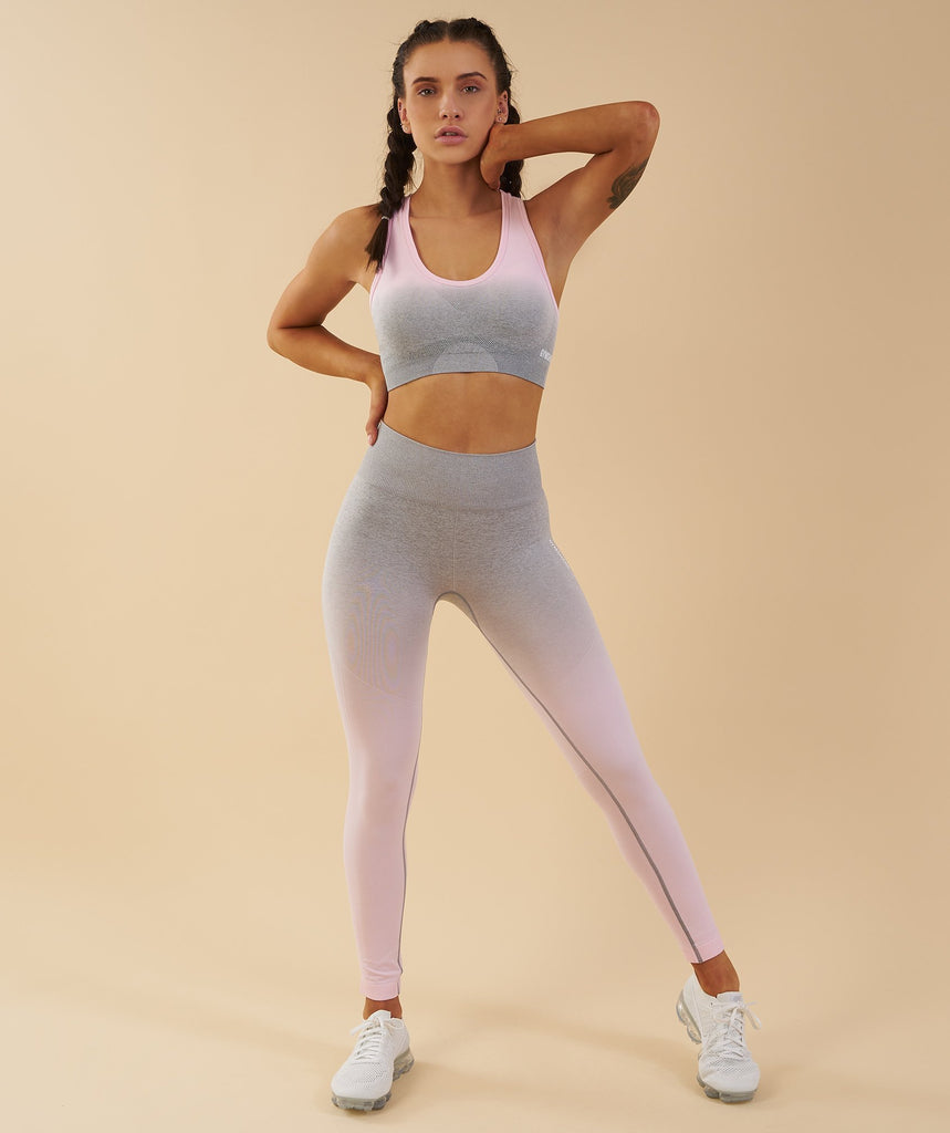 Gymshark Ombre Seamless Sports Bra - Light Grey/Chalk Pink 6