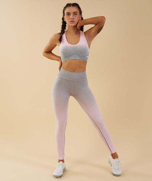 b5cc03e2ac Gymshark Ombre Seamless Sports Bra - Light Grey Chalk Pink ...