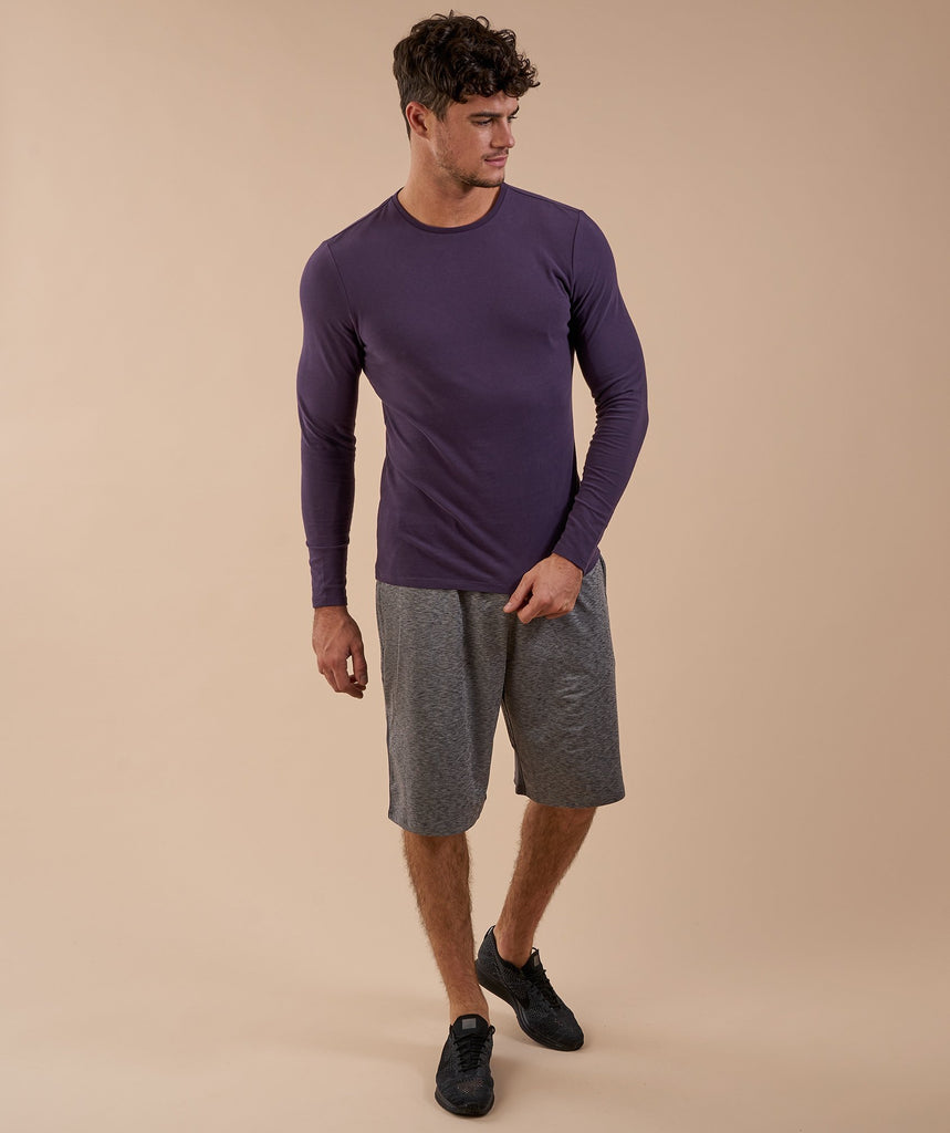 Brushed Cotton Long Sleeve T-Shirt - Nightshade Purple 1