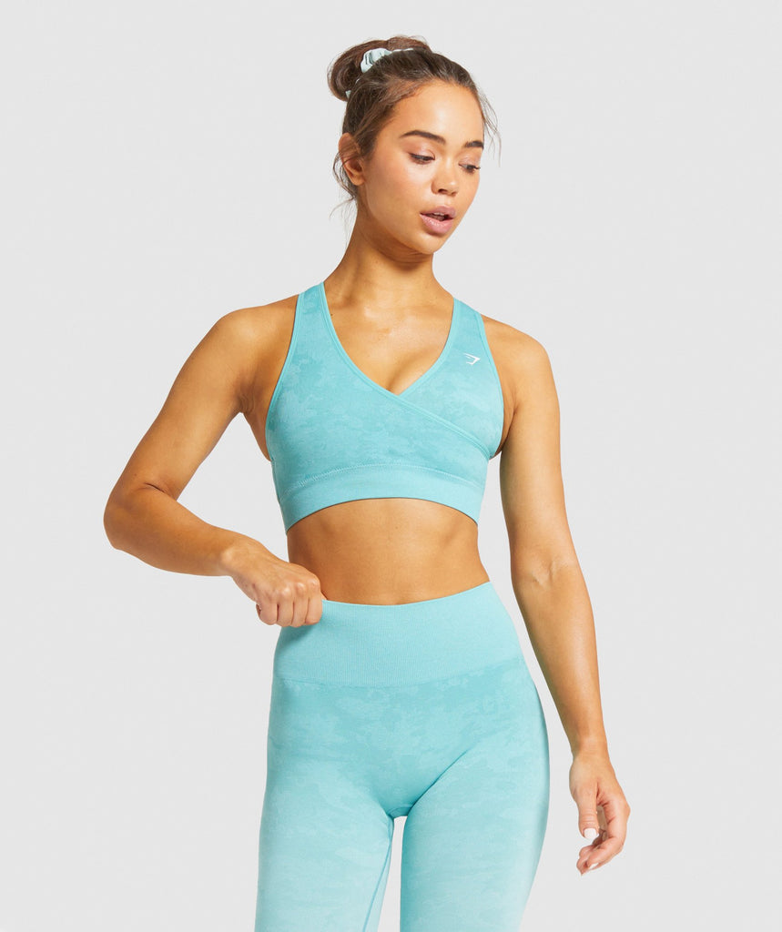 Gymshark Camo Seamless Sports Bra - Light Green 1