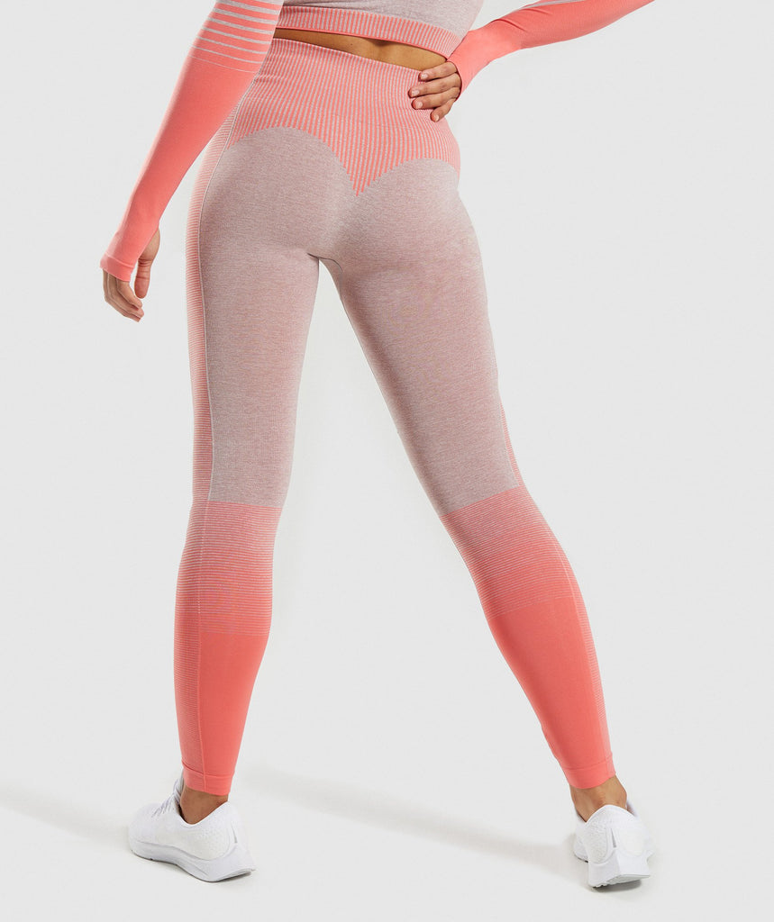 Gymshark Amplify Seamless Leggings - Taupe Marl/Peach Coral 2