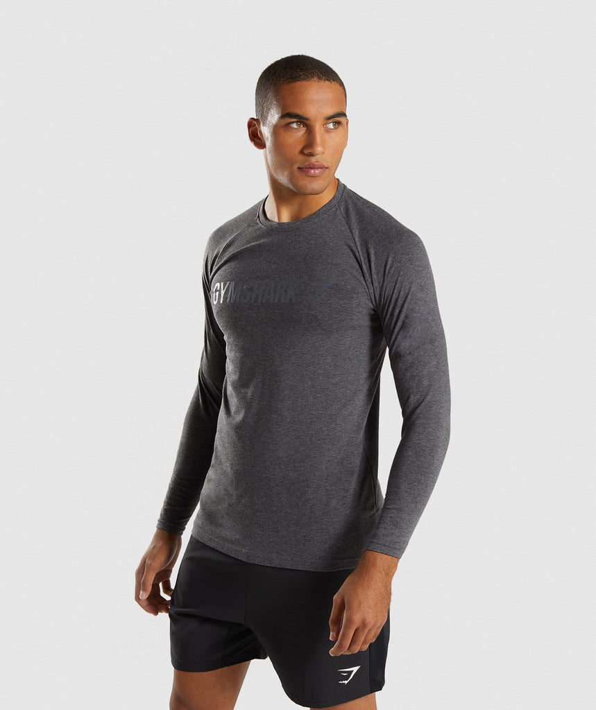 Gymshark Apollo Long Sleeve T-Shirt - Charcoal Marl 1
