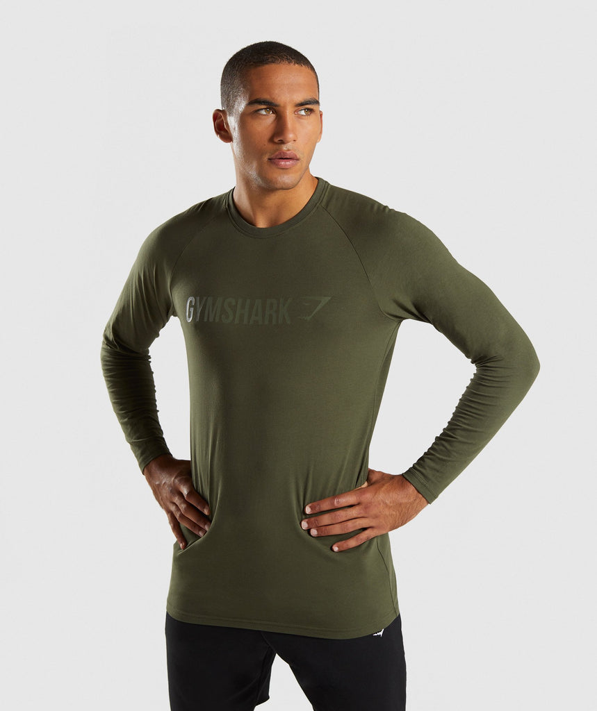 Gymshark Apollo Long Sleeve T-Shirt - Woodland Green 1