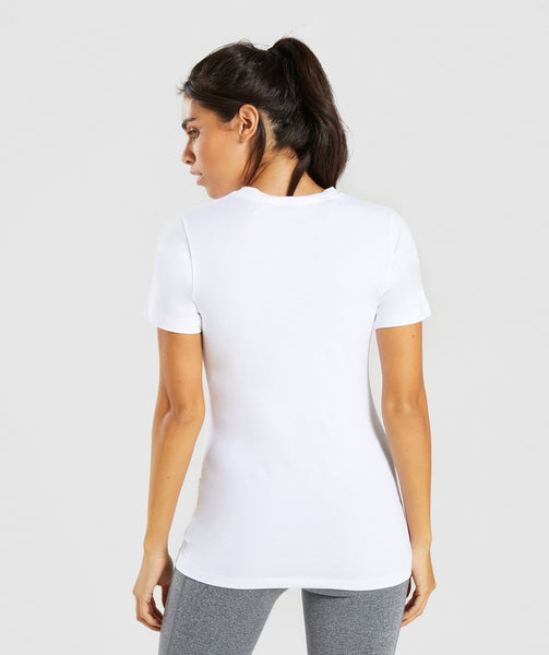 Gymshark Apollo T-Shirt 2.0 - White/Dusky Pink 1