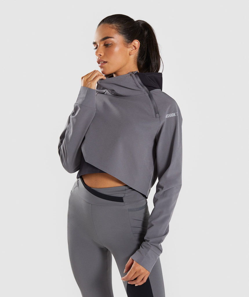 Gymshark Asymmetric Performance Hoodie - Smokey Grey/Black 1