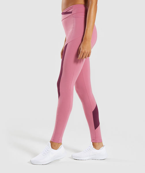 Gymshark Asymmetric Leggings - Dusky Pink/Dark Ruby 2