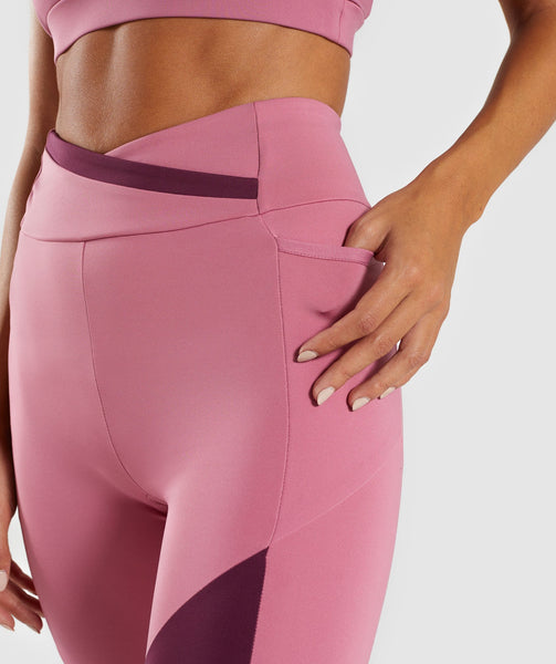Gymshark Asymmetric Leggings - Dusky Pink/Dark Ruby 4