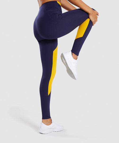 Gymshark Asymmetric Leggings - Evening Navy Blue/Citrus Yellow 2