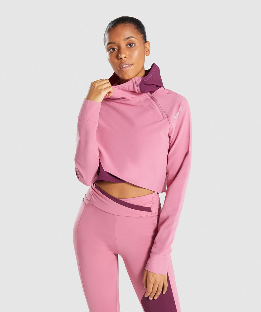Gymshark Asymmetric Performance Hoodie - Dusky Pink/Dark Ruby 1