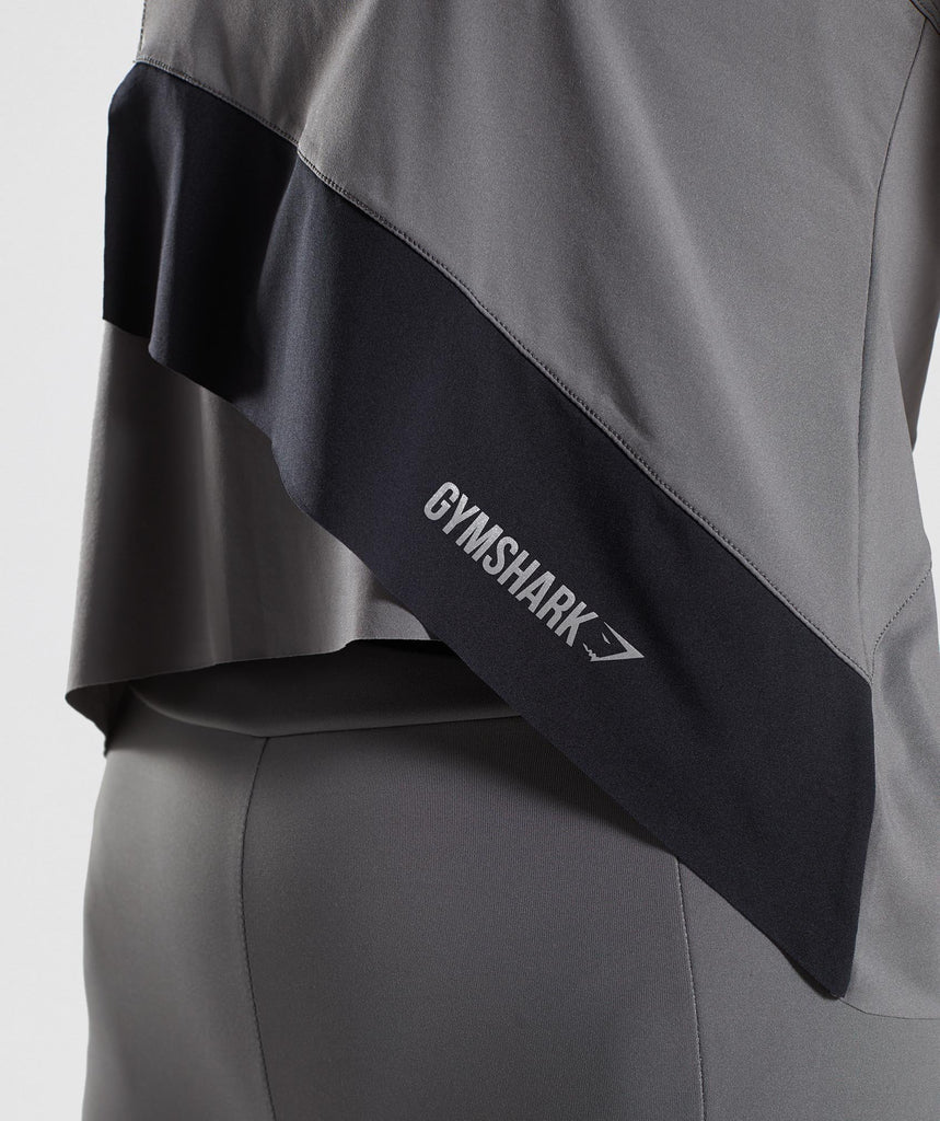 Gymshark Asymmetric Vest - Smokey Grey/Black 5