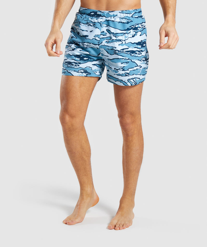 Gymshark Atlantic Swim Shorts - Blue Camo 1