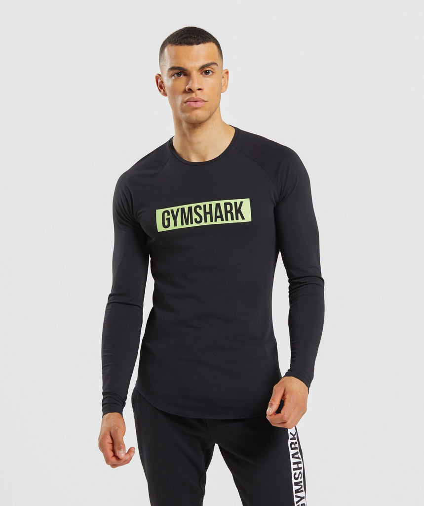Gymshark Block Long Sleeve T-Shirt - Black/Lime 1