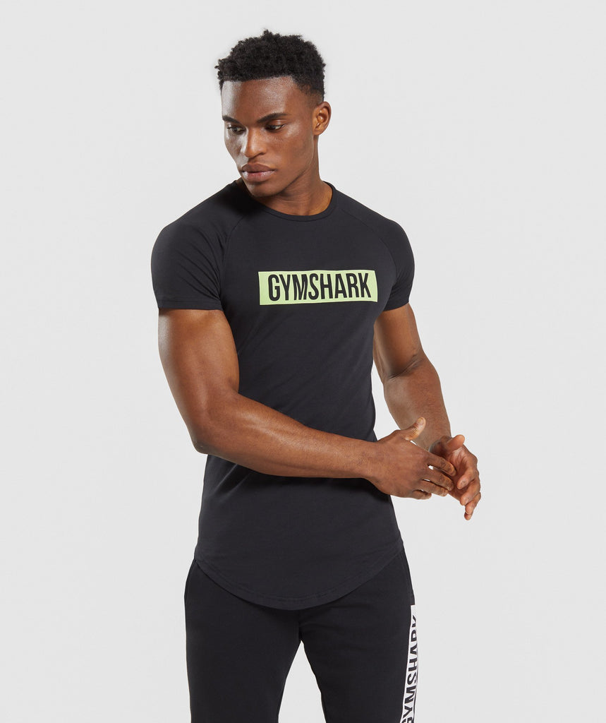 Gymshark Block T-Shirt - Black/Lime 1