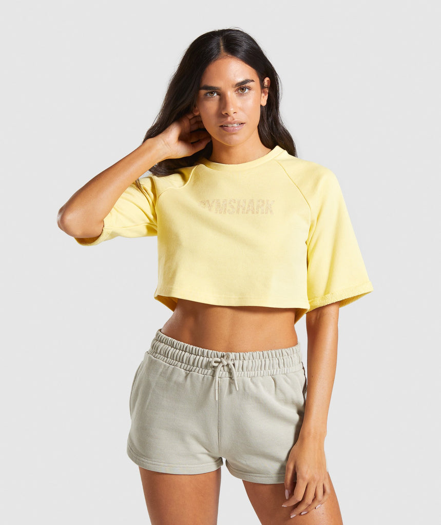 Gymshark Botanic Graphic Boxy Crop Top - Yellow 1