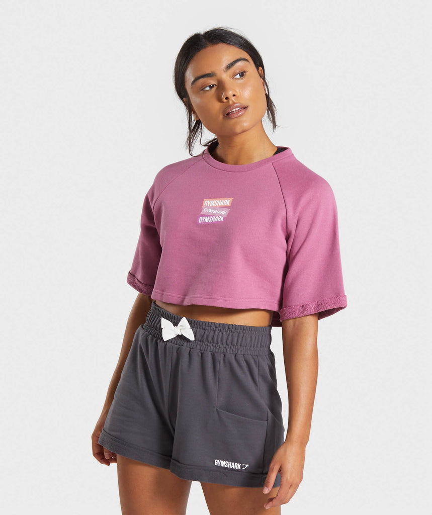 Gymshark Branded Boxy Cropped Sweater - Mauve 1