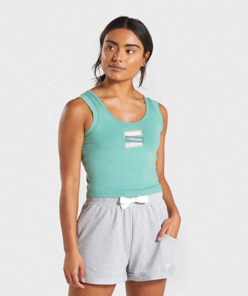 Gymshark Branded Crop Top - Green 1