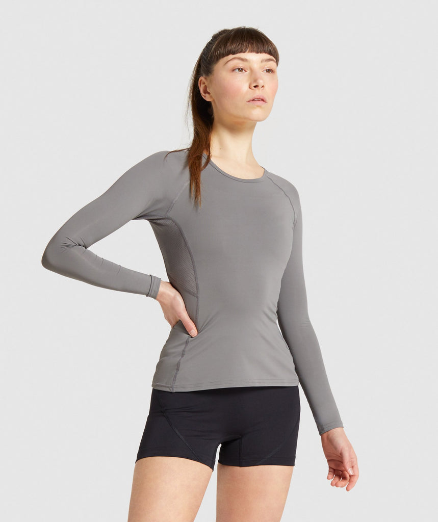 Gymshark Combat Long Sleeve Top - Smokey Grey 1