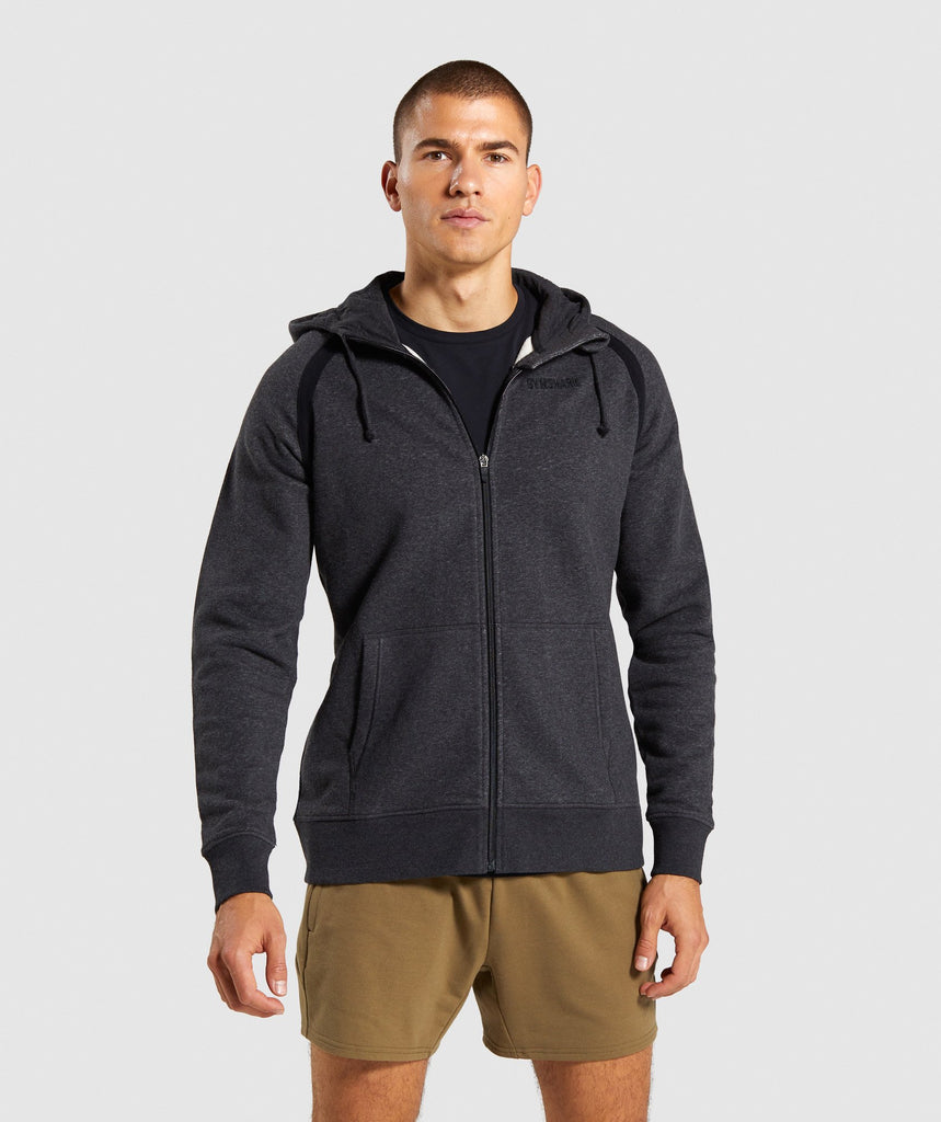 Gymshark Compound Zip Hoodie - Black Marl 1