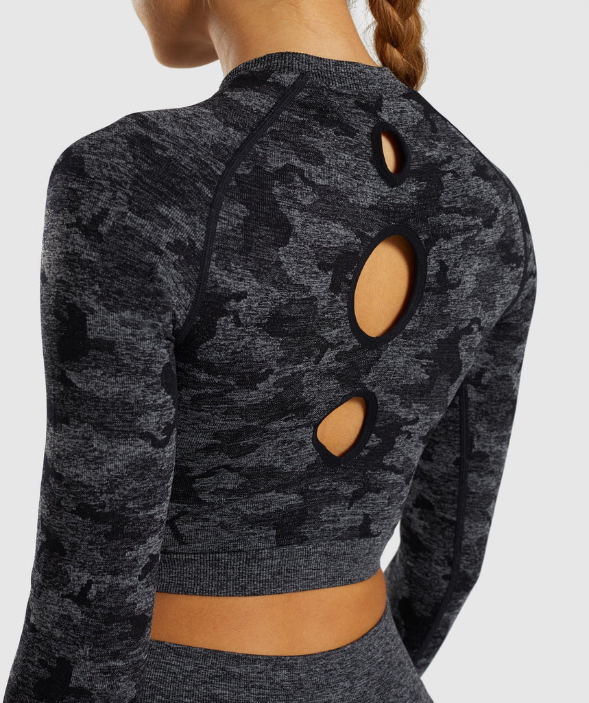 Gymshark Camo Seamless Long Sleeve Crop Top - Black 6