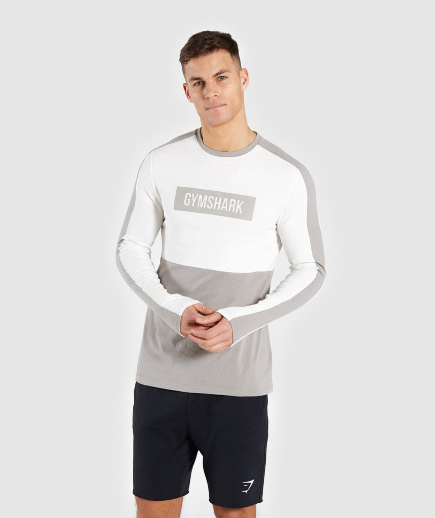Gymshark Colour Block Central Logo Long Sleeve T-Shirt - Chalk White 1