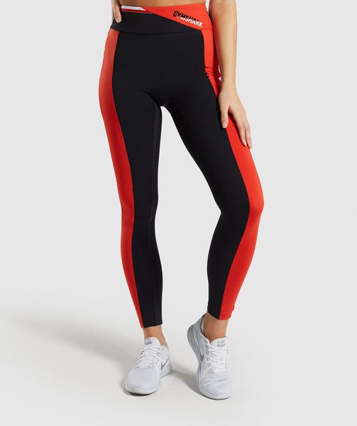 Gymshark Colour Block Leggings - Black/Red/White 4